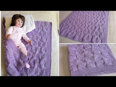 Одеяло детское вязаное спицами с описанием и схемами