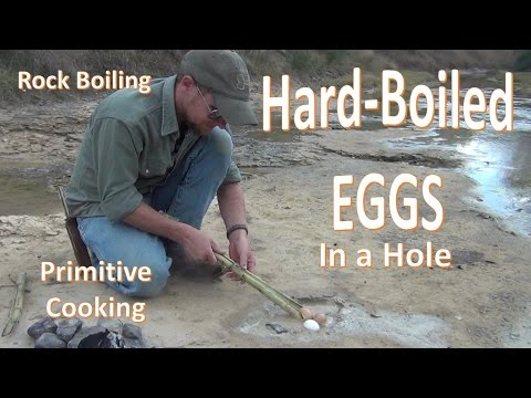 Boiling Eggs With Rocks (primitive Cooking)