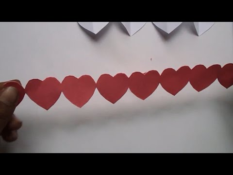How to Make Paper Heart Chain  Valentine's Day Crafts | Paper Heart Design