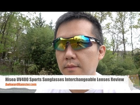 64774b94886 Hisea UV400 Sports Sunglasses Interchangeable Lenses Review - YouTube