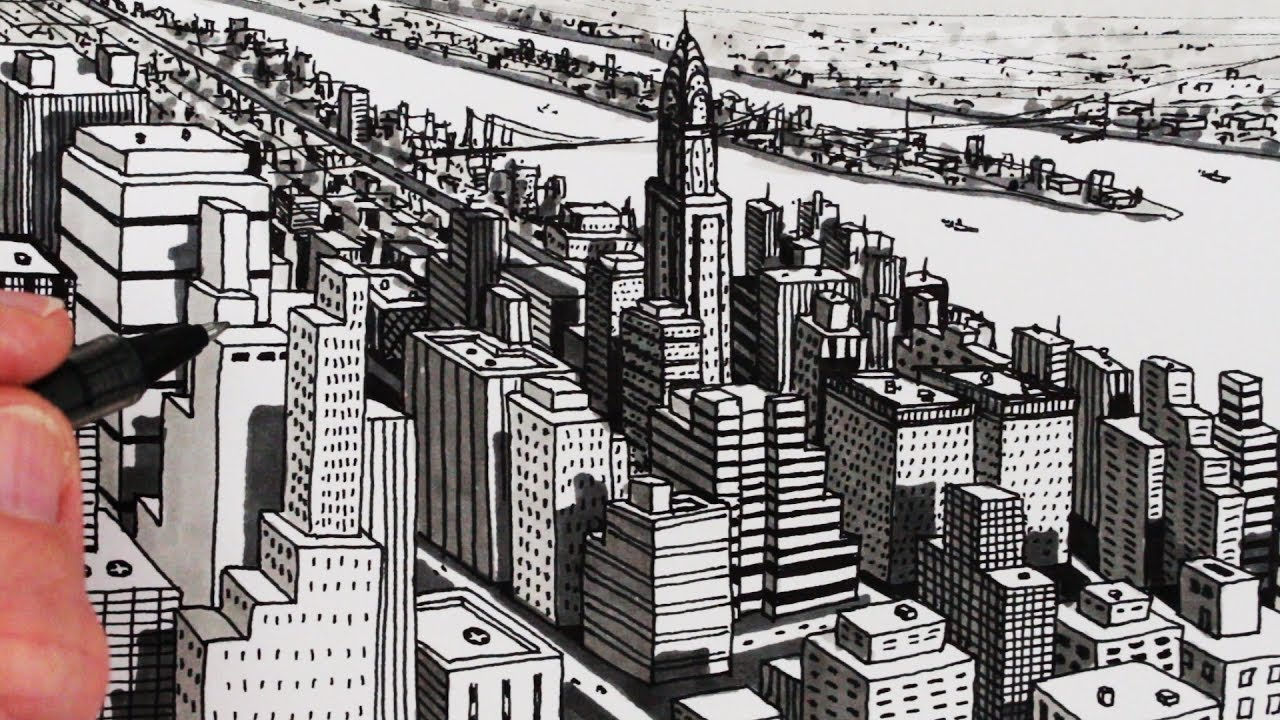 how to draw city buildings new york city shadows youtube