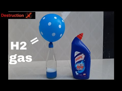 How to make HYDROGEN gas at home easily .