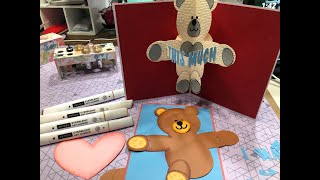 Pop Out Teddy Bear Card - Shading with Arteza Everblend Markers