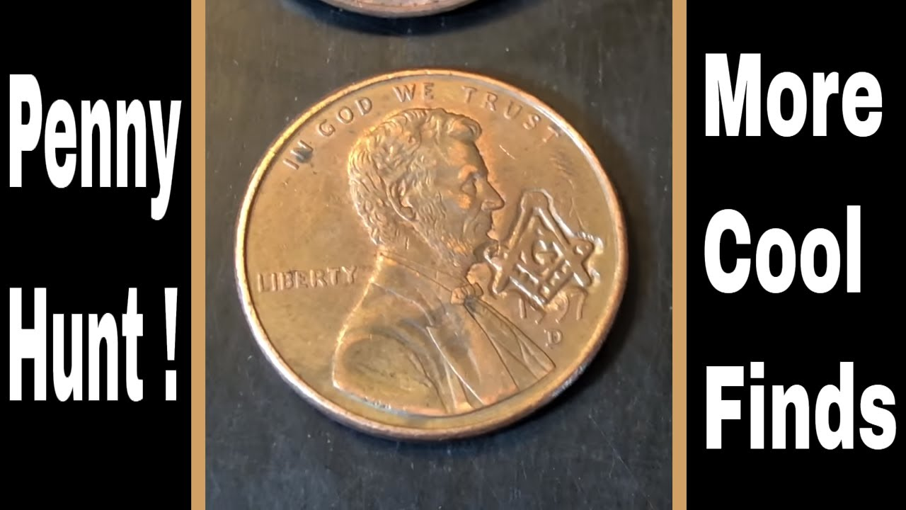 Coin Roll Hunting Pennies - Found Some Wheat Cents & Another Masonic Penny!