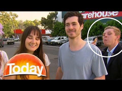 Guy eating sausage upstages news report | TODAY Show Australia