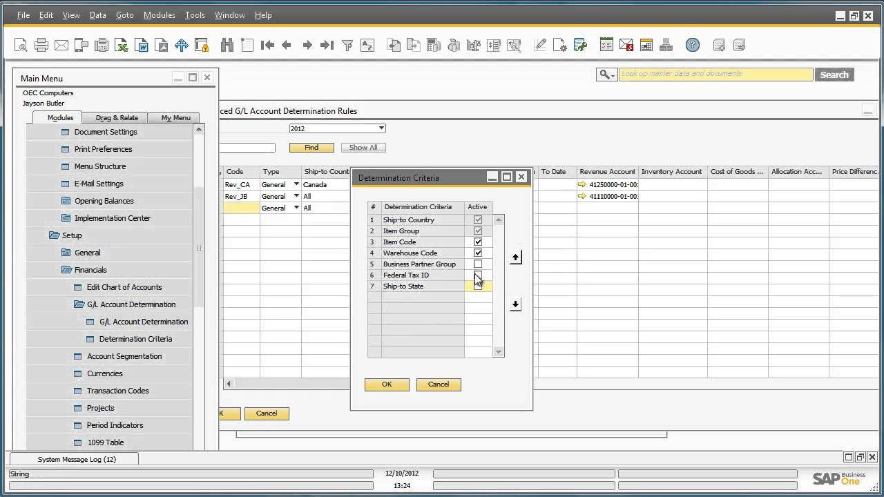 Advanced GL Account Determination in SAP Business One Version 9