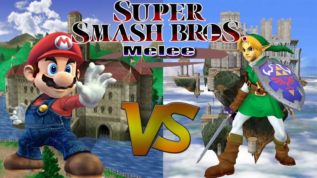 Link Vs Mario Brawl Super Smash Bros Melee...