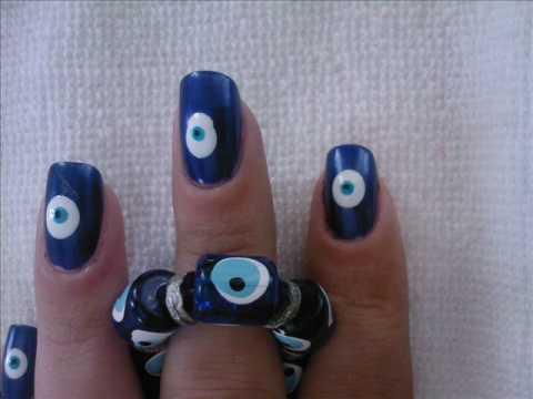 Turkish Eye of the Prophet nail art tutorial