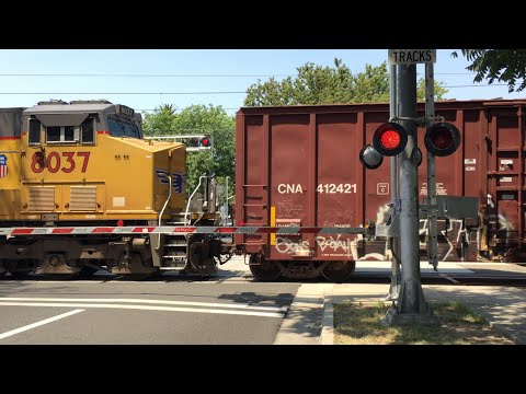 Union Pacific 7383 Manifest Rerouted Long And Slow, T Street Railroad Crossing