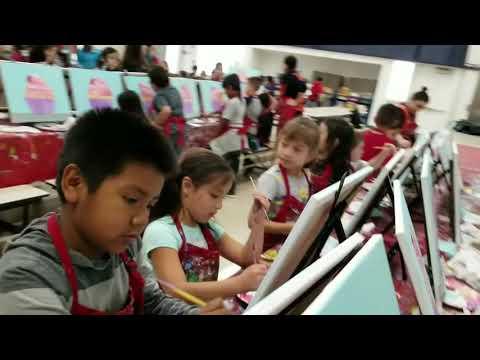 Malaga Elementary school painting the Cupcake.