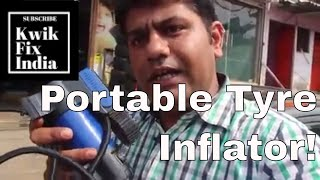 Portable tyre inflator or mini air compressor for Car tyres - Kwik Fix India