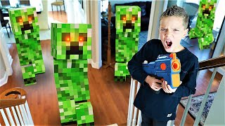 Minecraft Invasion 2!  Omega Sends New Ultra 2 Nerf Blaster to Payback Time