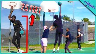2v2 BASKETBALL vs. 7 FOOT 6 Inch GIANT!