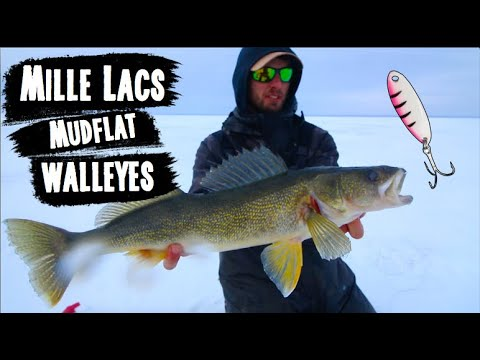 Ice Fishing Mud Flat Walleyes On Mille Lacs