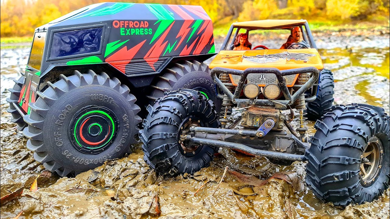 SHERP vs MEGA CAR Axial Wraith in Sticky MUD