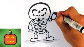 How to Draw a Cute Skeleton Man - Halloween Drawings