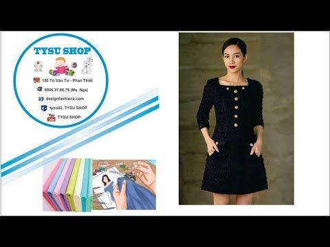 125_Thiết kế đầm cổ vuông tay lửng |dạy cắt may online miễn phí|sewing online class free | tysu shop