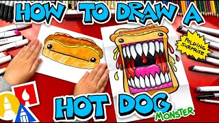 How To Draw A Hot Dog Monster - Folding Surprise