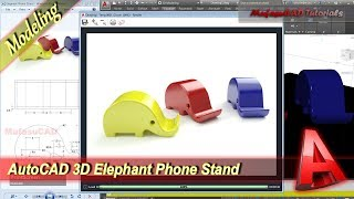 Autocad Design 3D Elephant Phone Stand Modeling Tutorial
