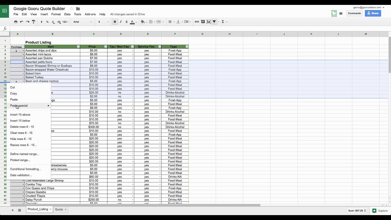 How to Insert Multiple Rows in Google Spreadsheets
