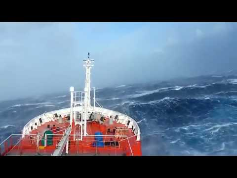 A huge ship sailing in Dangerous Ocean waves ever