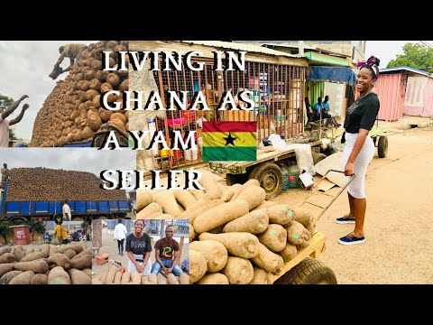 SELLING IN A GHANA MARKET | A DAY IN THE LIFE OF A GHANAIAN MARKET SELLER | SELLING YAM IN GHANA