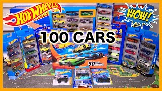 Opening 100 HOT WHEELS Card Surprise Toy Cars - Sports cars, Trucks, Muscle cars, Police, Racecars +
