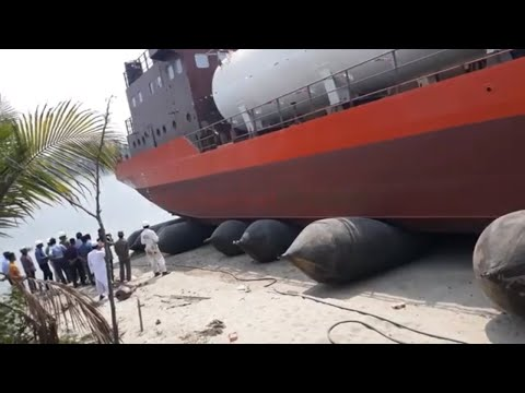 Ship Launching Video || Ship Launching using air bags || LPG Carrier Ship Launching