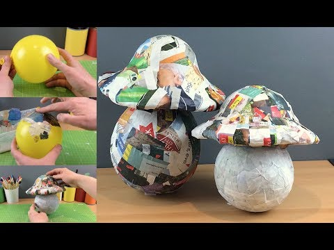 Easy How to Make Basic Giant Paper Mache Mushrooms