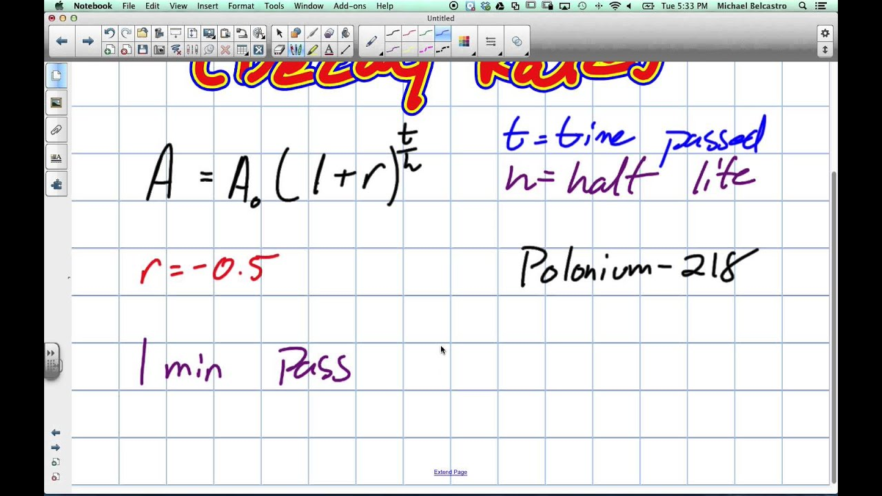 how to find rate of decay given half life