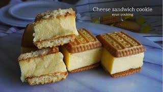 [材料4つ・レンジで5分] 1番簡単に作れる!濃厚なめらかチーズサンドクッキー作り方 No oven Cheese sandwich cookie 치즈 샌드위치 쿠키