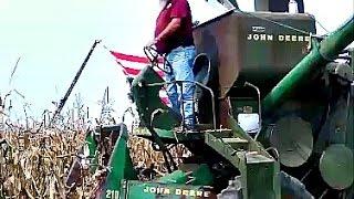 John Deere 45 Combine Shucking Corn