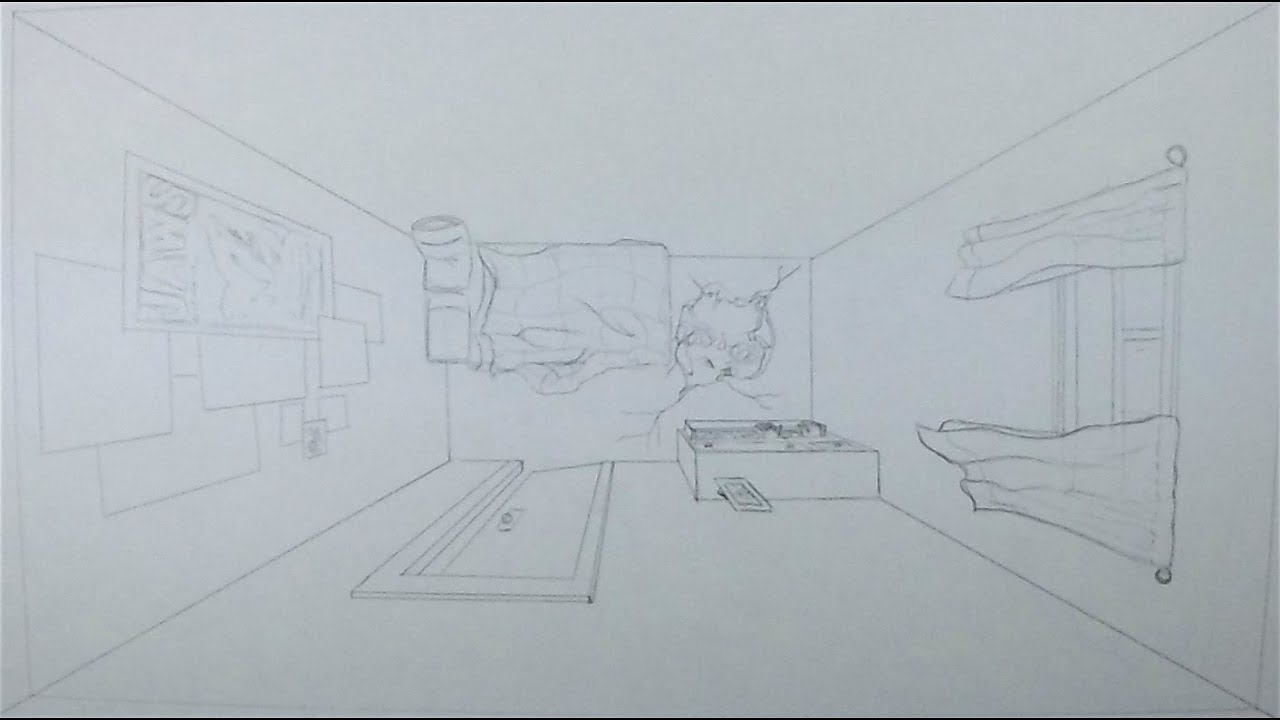 How to Draw a Room in Perspective (Bird\'s Eye) - YouTube