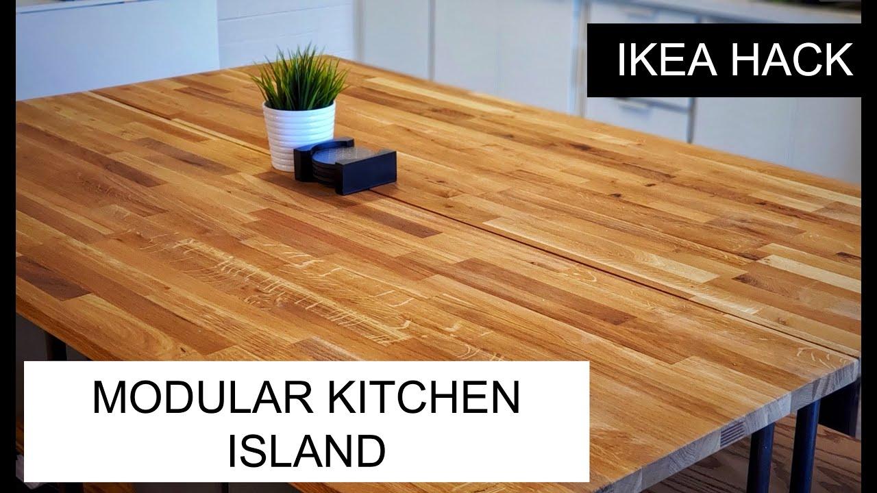 Ikea Hack Modular Hammarp Butcher Block Kitchen Island Youtube