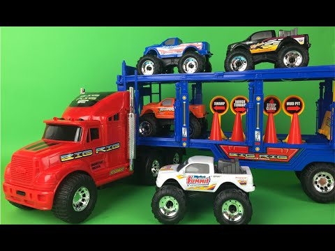Thumbnail: Bright Wheels Monster Mover Trucks PlaySet for kids - Colorful Monster Truck Toys Mighty Wheels