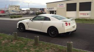 My R35 has HKS exhaust installed, and you can hear pops when changi...
