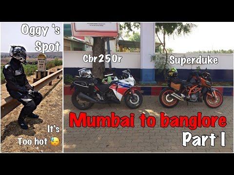 Mumbai-Bangalore-Mumbai | Part 1 | 1000kms | CBR250R | Duke 390 |  Ft. Biker 390