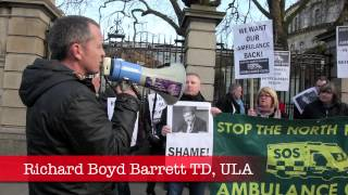 North Kildare against ambulance cuts protest at Dáil Eireann,