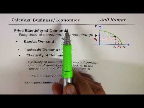 Price Elasticity of Demand Revenue Calculus Economics Applications