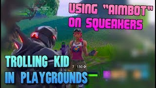 """Using """"Aimbot"""" Against Toxic Squeaker in 1v2 (He Reported Me) - Fortnite Playgrounds Trolling"""