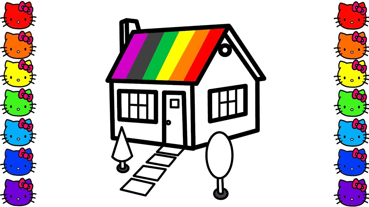 Rainbow House Coloring Pages And Drawing For Children