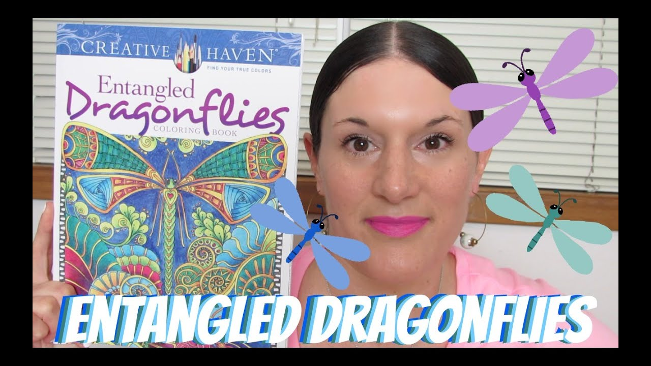 Coloring in dragonflies - Adult Coloring Books Entangled Dragonflies