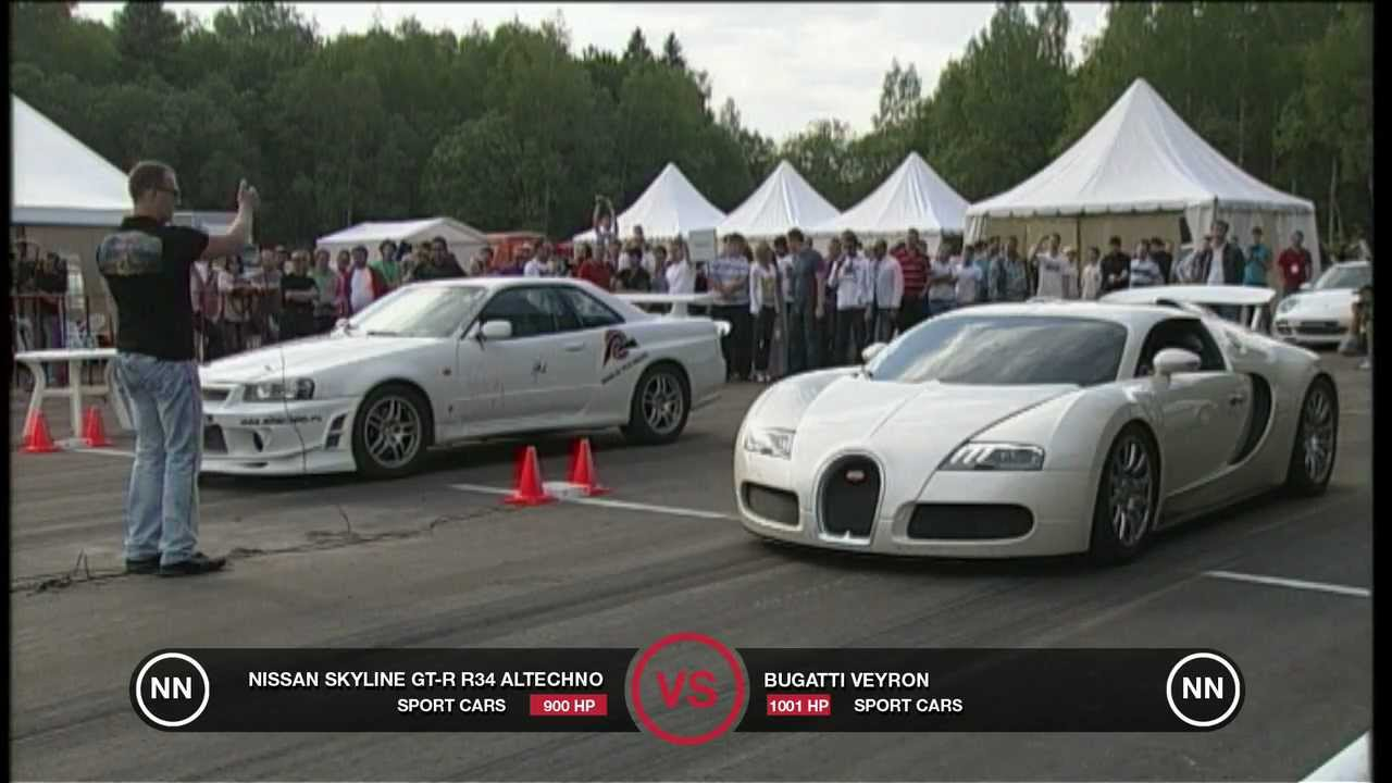 Bugatti Veyron Vs Nissan Skyline Gt R R34 Youtube