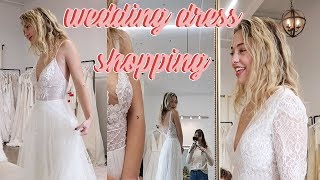 TRYING ON WEDDING DRESSES | come wedding shopping with me!
