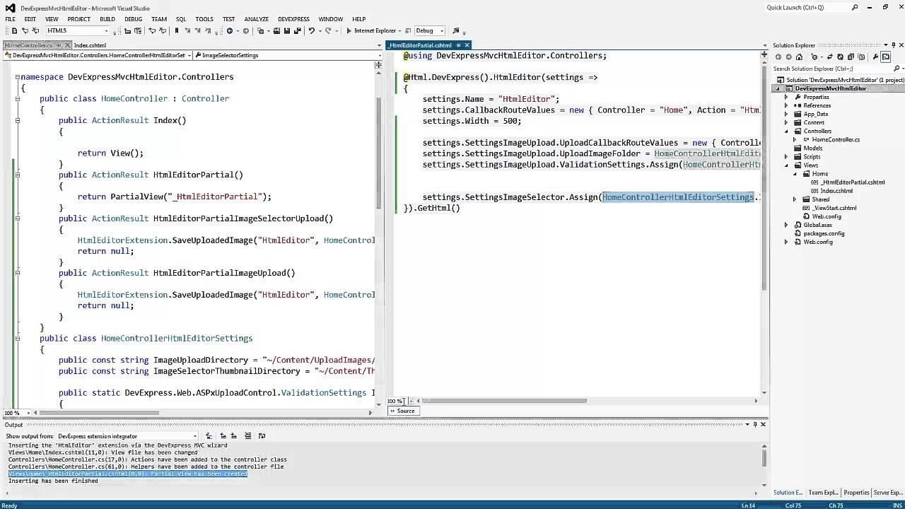 DevExpress ASP NET MVC: HTML Editor