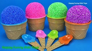 Learn Colors with Play Foam Ice Cream Surprise Toys MLP Disney Frozen Kinder Egg Kinetic Sand Balls