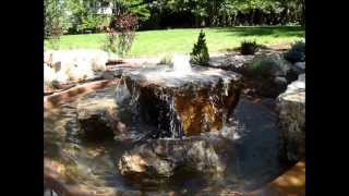 Natural Boulders in Creative Water Feature -Mile High Landscaping, Denver, CO