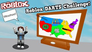 THROWING a DART at a MAP in ROBLOX and *PLAYING* the GAME that it hits!