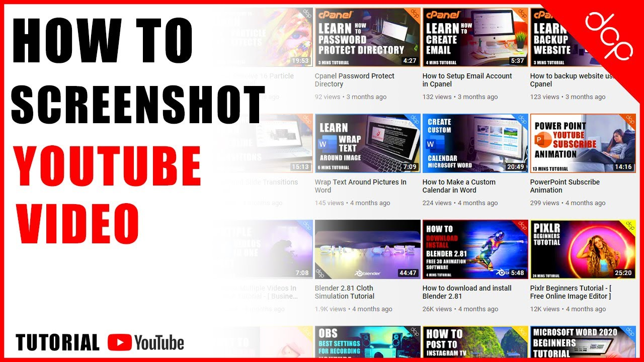 Screen Shot Youtube Video Tutorial Youtube