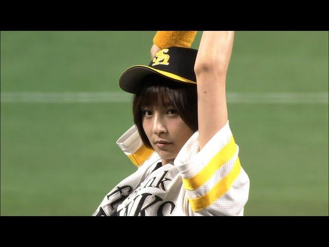 【プロ野球パ】地元出身!篠田麻里子の全力始球式! 2015/03/27 H-M